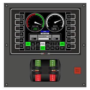 PCS Operator Panel as installed on bridge and control room for one engine