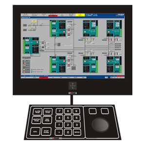 Cargo handling mimic on Operator Workstation. Colour Graphics Screen and user-friendly Operator Keyboard with Trackball